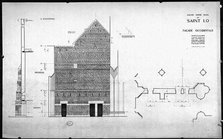 Elévation, coupe et plan de la façade occidentale