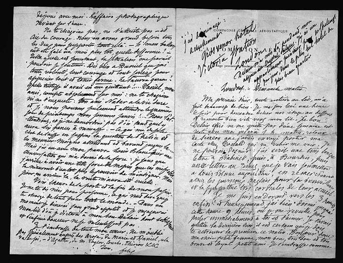 Lettre de Félix Nadar à sa femme, page 1 à droite et page 4 à gauche