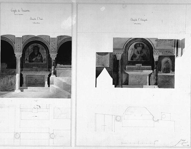 Restauration des chapelles Saint-Paul et Saint-Ebrégésil : Elévations et plans