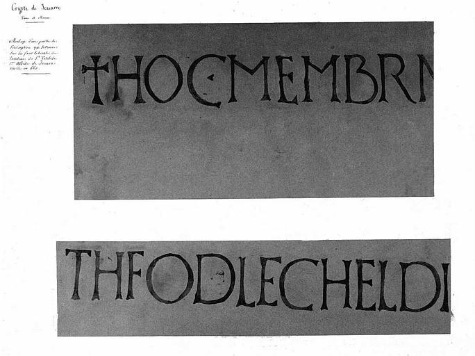 Montage d'une partie de l'inscription qui se trouve sur les faces latérales du tombeau de Sainte-Telchède, 1e Abbesse de Jouarre, morte en 660