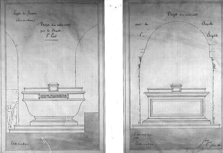 Projets d'un maître-autel pour les chapelles Saint-Paul et Saint-Ebrégésile
