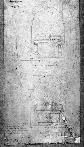 Projet de maître-autel de la chapelle Saint-Paul et Saint-Ebrégésile : Elévations