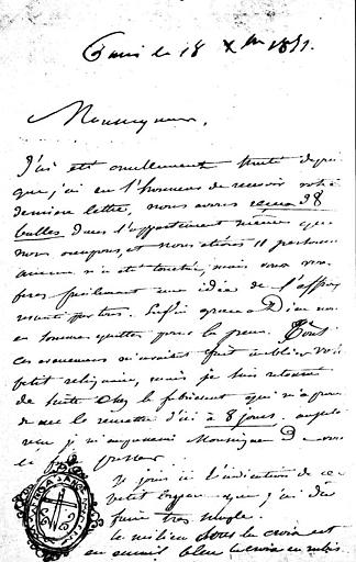 Lettre de Lassus à Monseigneur Pie, relative à une châsse reliquaire de Sainte-Radegonde (recto)