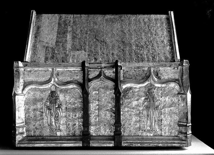 Châsse de saint Gilbert en cuivre argenté sur âme de bois (revers)