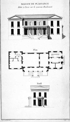 Gravure : Plan et élévations principale et latérale