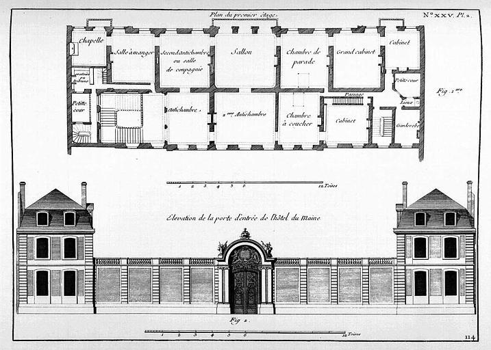 Gravure : Plan du 1e étage et élévation de la porte d'entrée