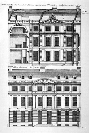 Gravure : Elévation de la façade sur cour d'une maison appartenant à l'hôtel-Dieu