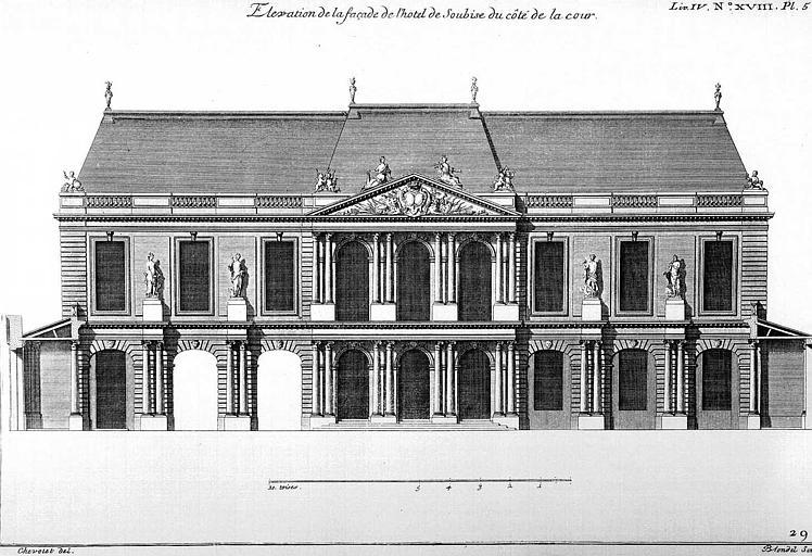 Gravure : Elévation de la façade sur cour