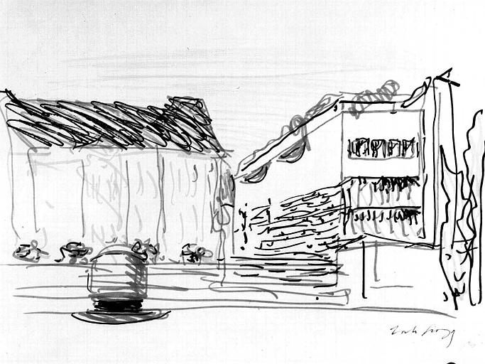 Projet d'aménagement du Musée Picasso (n° 1) : Perspective côté jardin, pavillon sud (esquisse)