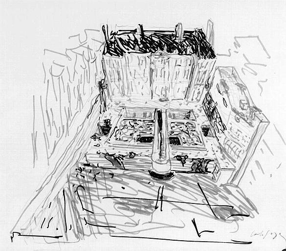 Projet d'aménagement du Musée Picasso (n° 3) : Vue perspective générale côté jardin (esquisse)
