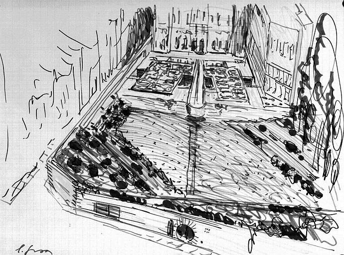 Projet d'aménagement du Musée Picasso (n° 4) : Vue perspective générale, côté jardin (esquisse)