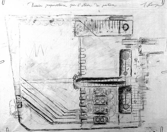 Projet d'aménagement du Musée Picasso (n° 6) : Dessin préparatoire pour l'étude du parterre