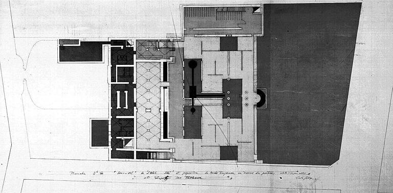 Projet d'aménagement du Musée Picasso (n° 8) : Plans du sous-sol de l'hôtel, musée temporaire et dépôt des tableaux