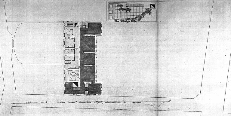 Projet d'aménagement du Musée Picasso (n° 12) :  plans du 2e étage, musée permanent, administration et terrasse