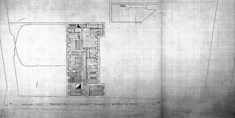 Projet d'aménagement du Musée Picasso (n° 13) : Plans du 3e étage, économat, personnel et appartement de fonction