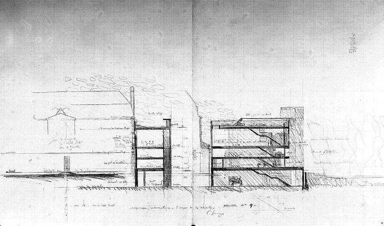 Projet d'aménagement du Musée Picasso (n° 15) : Coupe pour l'annexe des dessins (esquisse)