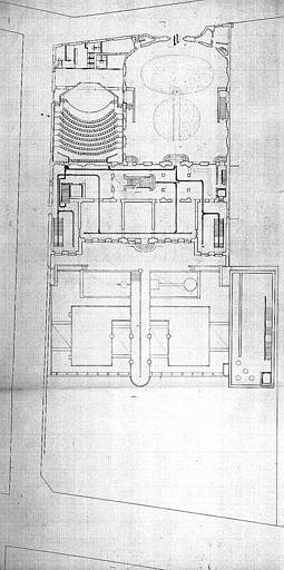 Projet d'aménagement du Musée Picasso (n° 17) : Plan de circulation au rez-de-chaussée, entrée-sortie