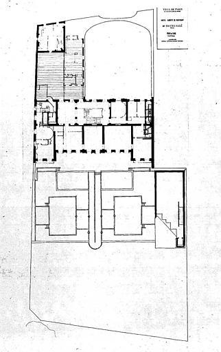 Projet d'aménagement du Musée Picasso (n° 25) : Plan du 1e étage, implantation, surface