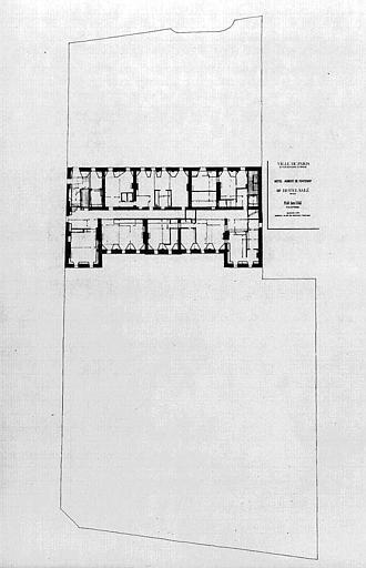 Projet d'aménagement du Musée Picasso (n° 29) : Plan du 3e étage, implantation générale et surface