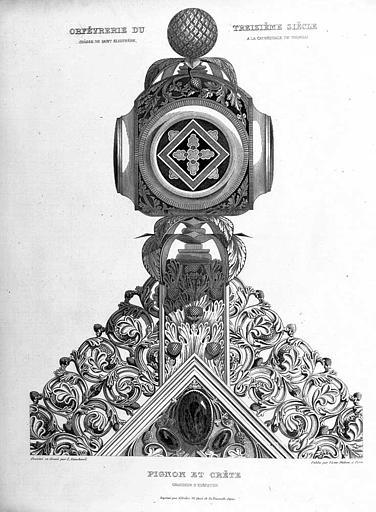 Gravure : Châsse de saint Eleuthère, pignon et crête (grandeur d'exécution)