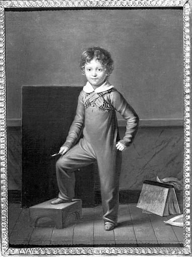 Peinture sur toile : Portrait d'Eugène Viollet-le-Duc enfant