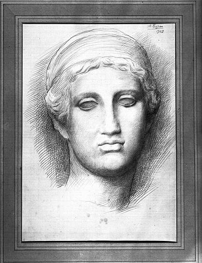 Dessin à la pointe d'argent sur papier préparé : Etude de statue grecque
