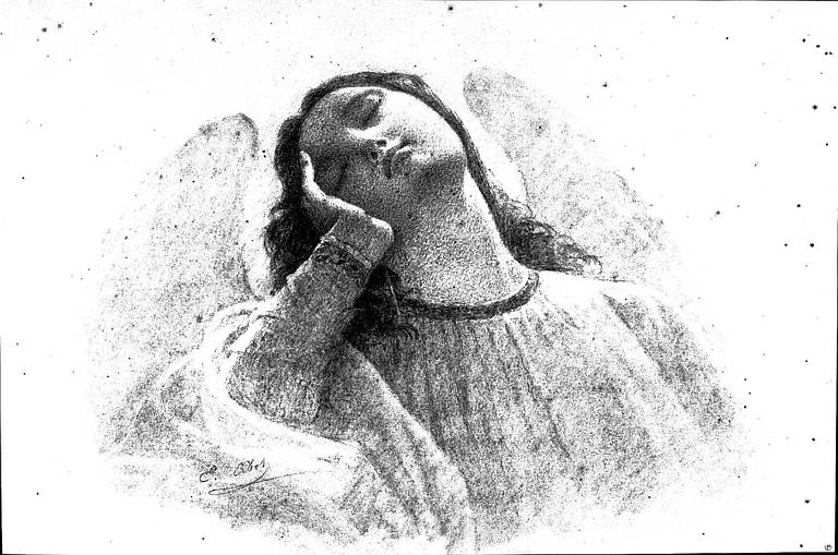 Dessin au fusain : Ange endormi