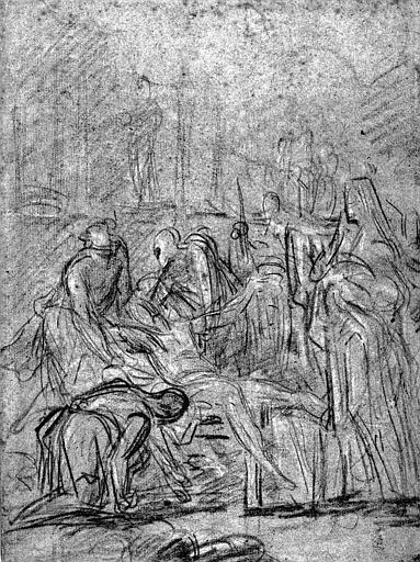 Dessin à la pierre noire rehaussé de blanc sur papier bleu (recto) : Martyre de saint Laurent