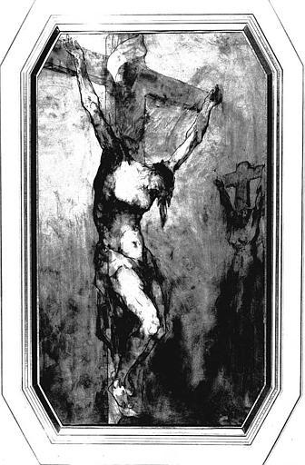 Dessin à la plume et lavis gris : Christ en croix