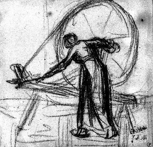 Dessin au crayon noir : Femme au rouet