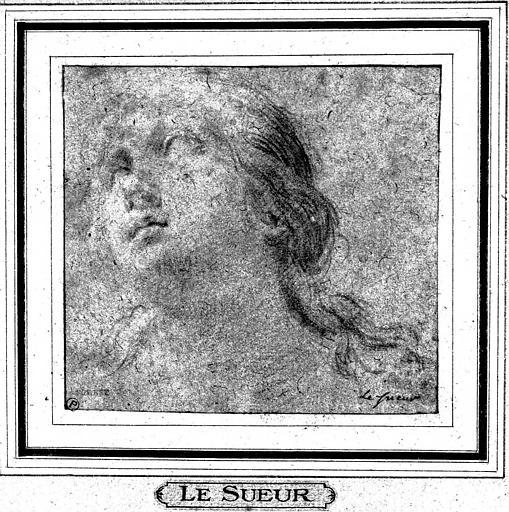 Dessin à la pierre noire : Tête de femme