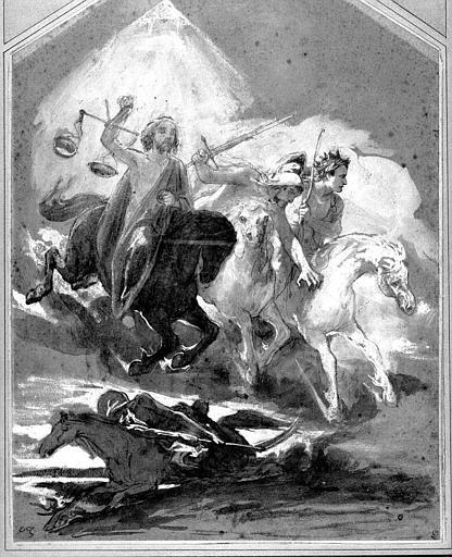 Dessin à la mine de plomb, lavis et rehauts de gouache blanche : Les quatre cavaliers de l'Apocalypse