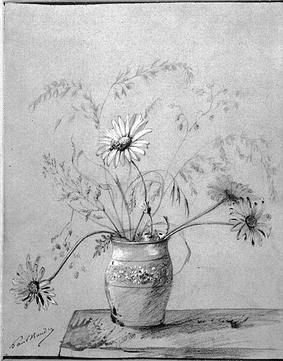 Dessin à la mine de plomb rehaussé de blanc sur papier bleu : Vase de fleurs