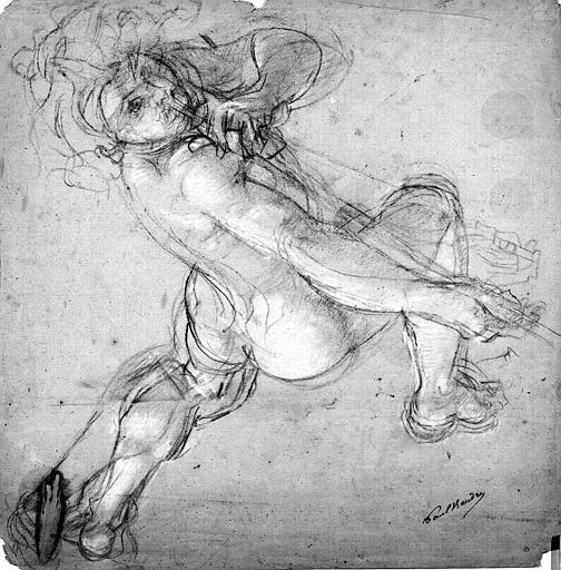 Dessin au crayon noir rehaussé de blanc sur papier bleu : Etude d'homme soufflant dans une trompette, pour le décor de l'Opéra de Paris