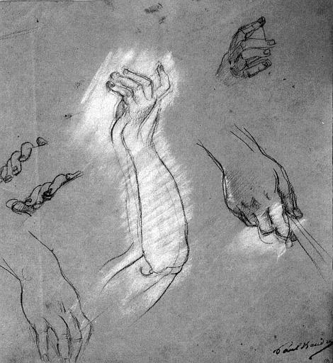 Dessin au crayon noir rehaussé de blanc sur papier gris : Etude de mains