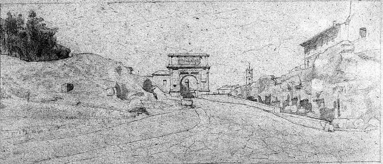 Dessin à la mine de plomb : L'Arc de Titus à Rome
