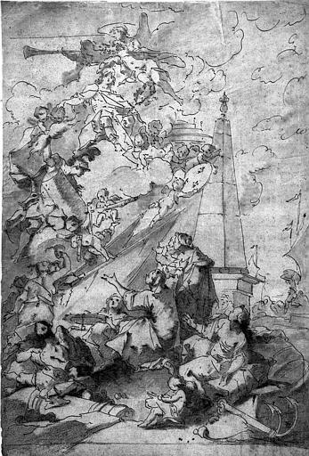 Dessin à l'encre brune, lavis et rehaut de sanguine : La paix de 1748