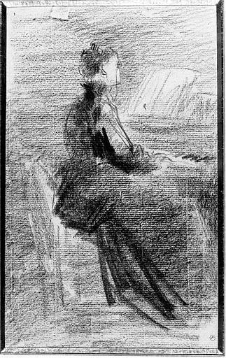 Fusain sur papier bleu : Femme au piano