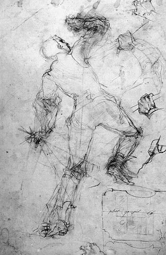 Dessin au crayon noir : Etude pour le Saint-Hubert de Chantilly