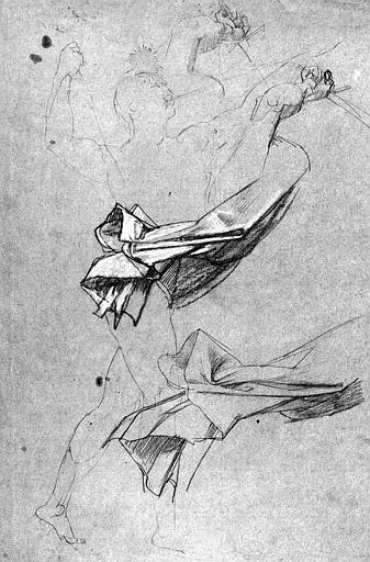 Dessin au crayon noir rehaussé de blanc : Etude pour l'Opéra