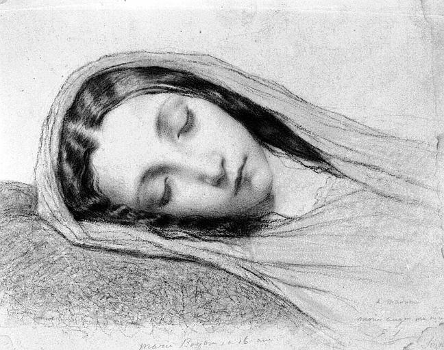 Dessin à la mine de plomb : Tête de fillette endormie