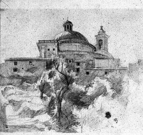 Dessin au crayon noir : Vue du chevet de l'église d'Ariccia