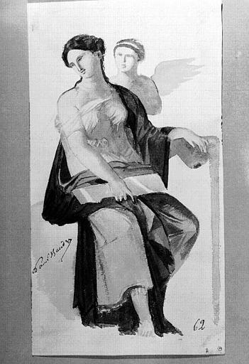Aquarelle (copie d'après une fresque romaine)