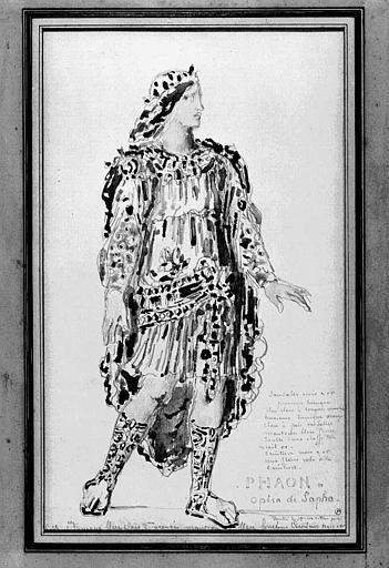 Aquarelle, mine de plomb : Etude de costume pour l'opéra de Sapho