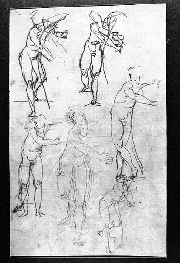 Dessin au crayon noir : Etude de David et Saul pour l'Opéra