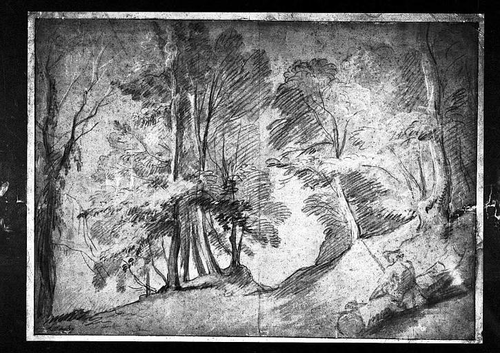 Dessin à la pierre noire, rehaut de blanc : Paysage au chasseur
