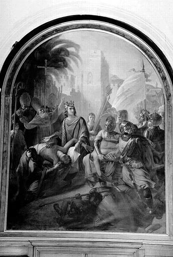 Peinture sur toile cintrée : Saint Louis fait ensevelir les morts après la destruction de Sidon