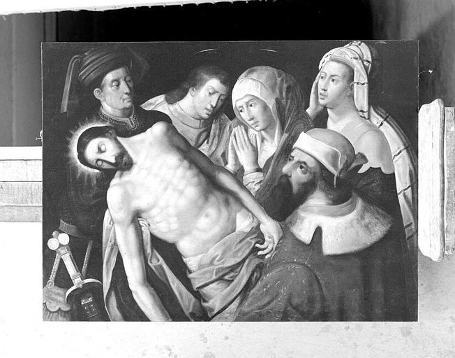 Panneau peint : Descente de croix