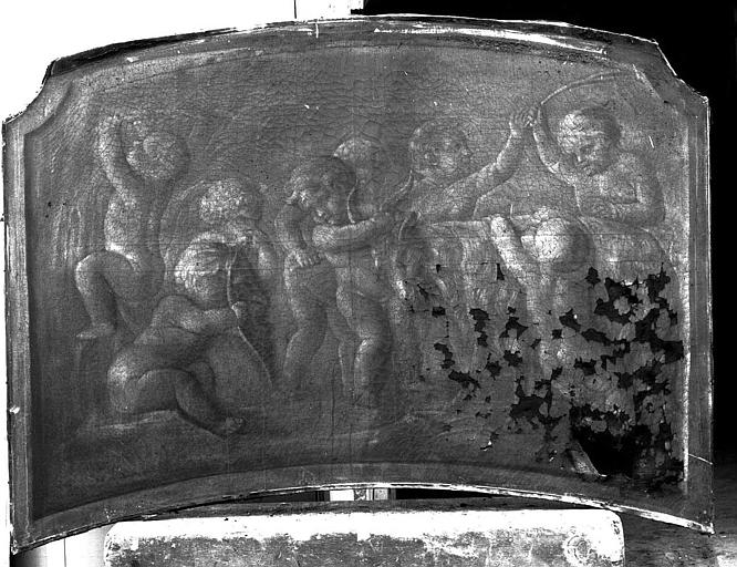 Peinture sur toile (au-dessus d'une porte du vestibule) : Amours jouant avec chèvres et masque