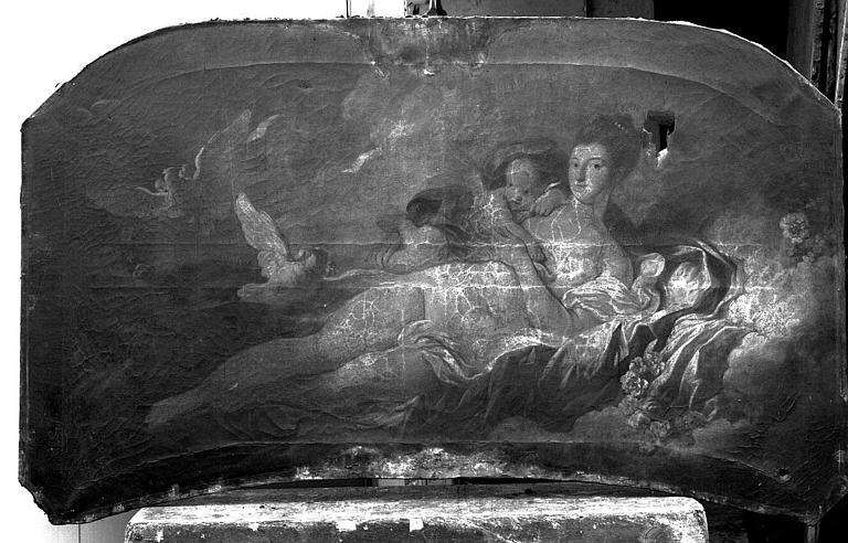 Peinture sur toile (au-dessus d'une porte de salon) : Allégories féminines